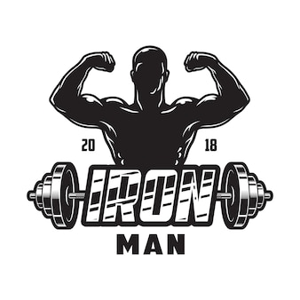 Rótulo de musculação vintage com haltere de metal de homem forte e inscrição