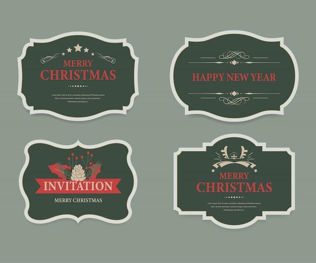 Rótulo de natal e vintage de banner de natal.
