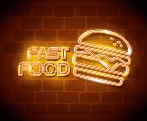 Rótulo de néon de hambúrguer de fast-food