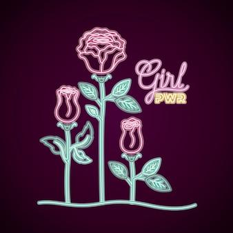 Rótulo de néon feminino poder com decoração de rosas