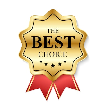 Rótulo de ouro o melhor modelo bem escolhido. Vetor Premium