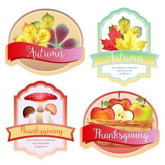 Rótulo de outono bonito com folhas de maçã e cogumelo