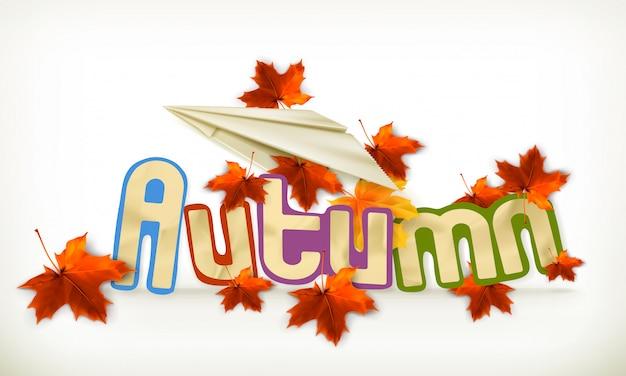 Rótulo de outono, ilustração vetorial