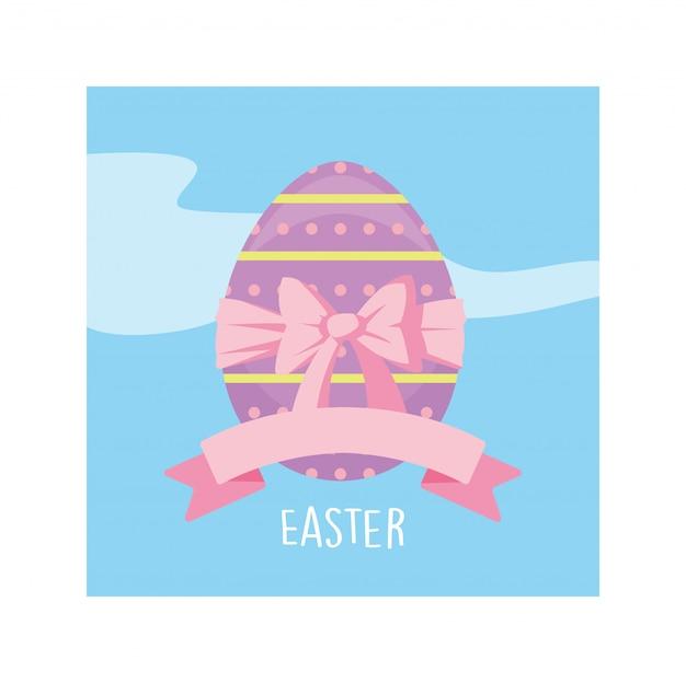 Rótulo de páscoa com ovo, cartão de felicitações