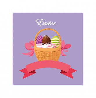 Rótulo de páscoa com ovos, cartão de felicitações