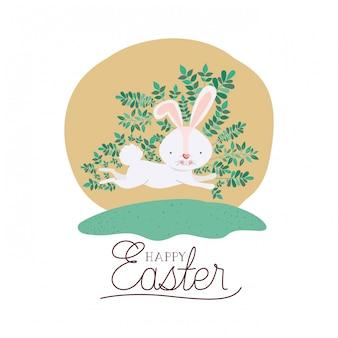 Rótulo de páscoa feliz com ícone de ovo e flores