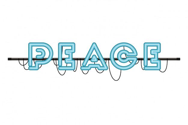 Rótulo de paz em luz de neon isolado ícone