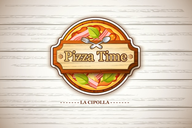 Rótulo de pizza colorida capricciosa com ingredientes de tomate e queijo pimenta verde-oliva em ilustração de madeira