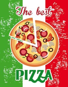 Rótulo de pizza sobre fundo de bandeira italiana