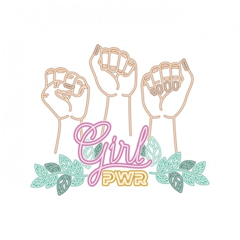 Rótulo de poder de menina com as mãos nos ícones de sinal de luta