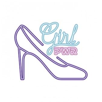 Rótulo de poder de menina com ícone isolado de calcanhar