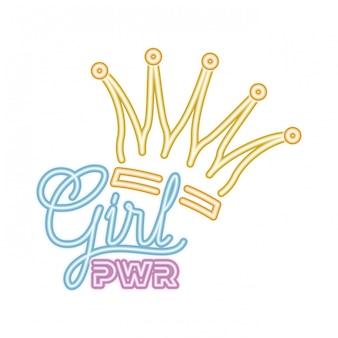 Rótulo de poder de menina com ícone isolado de coroa