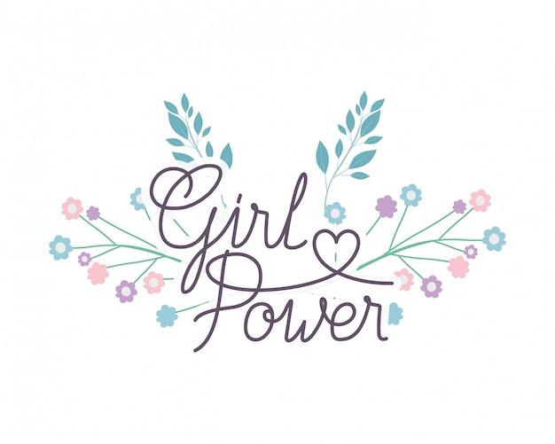 Rótulo de poder de menina com ícone isolado de flor