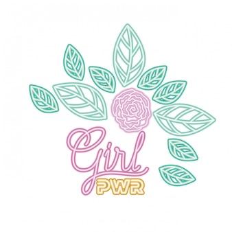 Rótulo de poder de menina com ícone isolado de rosas