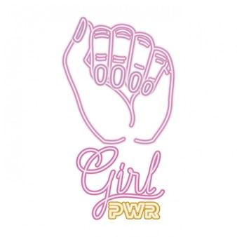 Rótulo de poder de menina com mão em ícones de sinal de luta