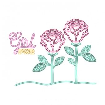 Rótulo de poder de menina com rosa ícone isolado