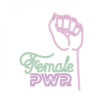 Rótulo de poder feminino com mão em ícones de sinal de luta