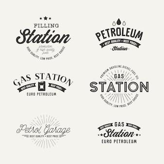 Rótulo de posto de gasolina definido no fundo cinza