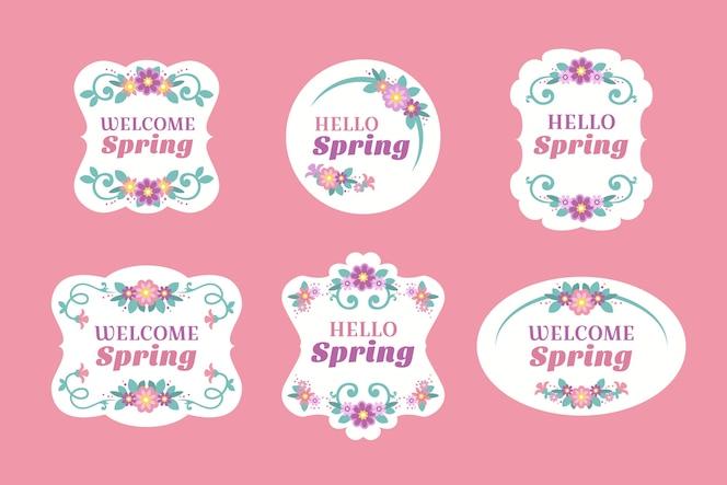 rótulo de primavera design plano com quadros florais