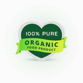 Rótulo de produto 100% orgânico puro