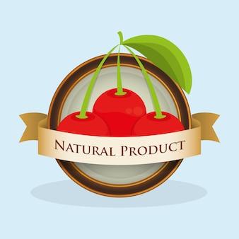 Rótulo de produto natural de cereja