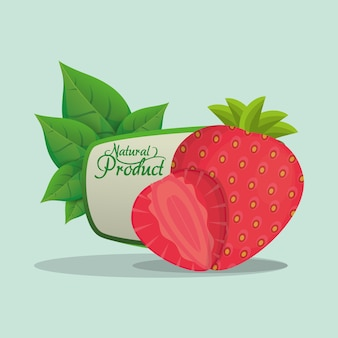 Rótulo de produto natural de morango
