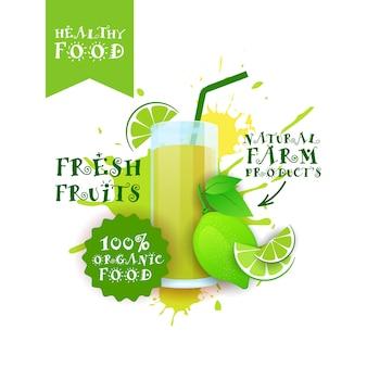 Rótulo de produtos de comida natural logotipo suco de lima fresca sobre pintura respingo