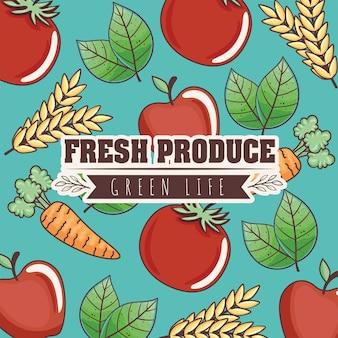 Rótulo de produtos frescos e vida verde