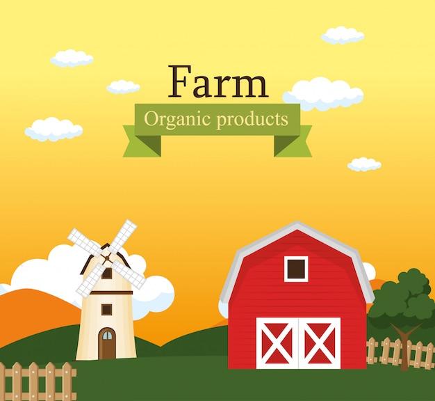 Rótulo de produtos orgânicos de cena de fazenda
