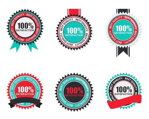 Rótulo de qualidade de satisfação de vetor 100 definido em design moderno plana. ilustração vetorial eps10
