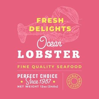 Rótulo de qualidade premium de delícias de frutos do mar frescos. layout de design de embalagem.