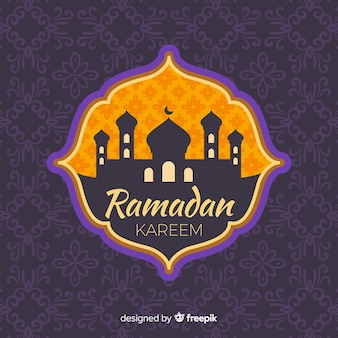 Rótulo de ramadan plana