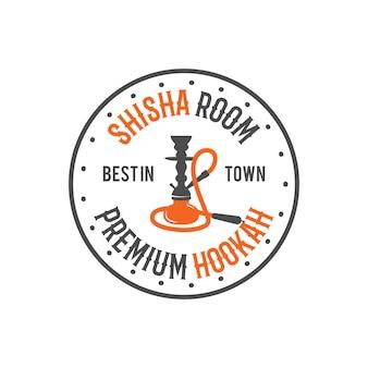 Rótulo de relaxamento do cachimbo de água, crachá. logotipo da sala de shisha vintage. emblema do café lounge. bar ou casa árabe, loja. isolado. ilustração em vetor de estoque.