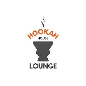 Rótulo de relaxamento do cachimbo de água, crachá. logotipo do vintage shisha com o símbolo da tigela do cachimbo de água. emblema do café lounge. bar ou casa árabe, loja. isolado. ilustração em vetor de estoque.
