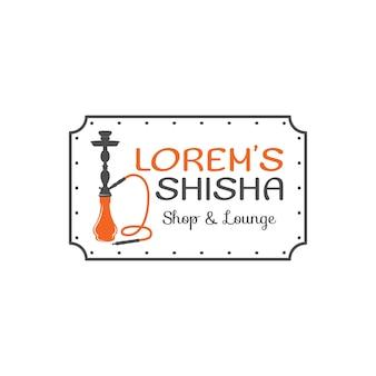 Rótulo de relaxamento do cachimbo de água, crachá. logotipo vintage shisha. emblema do café lounge. bar ou casa árabe, loja. isolado. ilustração em vetor de estoque.