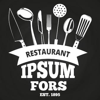 Rótulo de restaurante vintage ou distintivo no quadro-negro