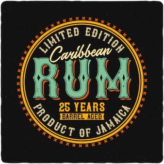 Rótulo de rum do caribe