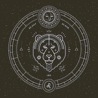 Rótulo de sinal do zodíaco leo vintage linha fina. símbolo astrológico de vetor retrô, elemento místico, geometria sagrada, emblema, logotipo. ilustração de estrutura de tópicos do curso.