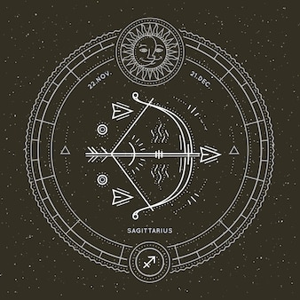 Rótulo de sinal do zodíaco sagitário vintage linha fina. símbolo astrológico de vetor retrô, elemento místico, geometria sagrada, emblema, logotipo. ilustração de estrutura de tópicos do curso.