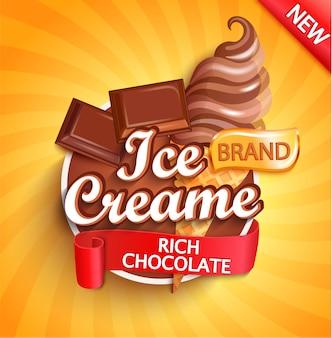 Rótulo de sorvete de chocolate