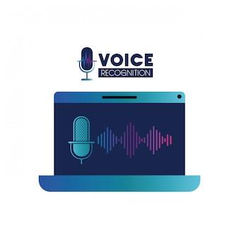 Rótulo de tecnologia de voz com laptop e assistente de voz