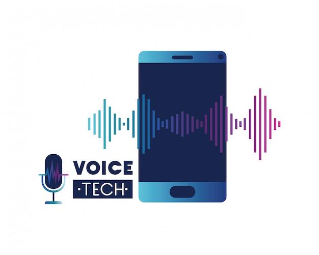 Rótulo de tecnologia de voz com smartphone e onda sonora