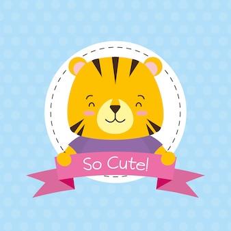 Rótulo de tigre, animal fofo, desenho animado e estilo simples, ilustração