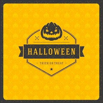 Rótulo de tipografia retrô de celebração de halloween