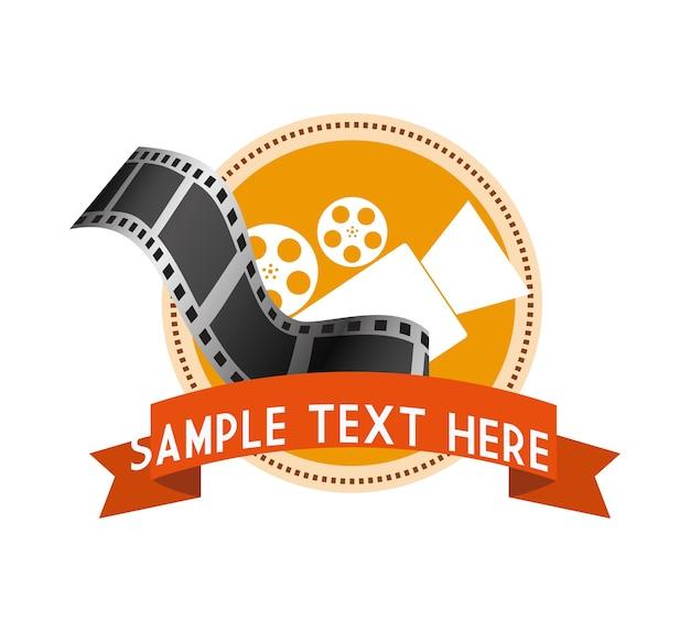 Rótulo de tira de filme de câmera de cinema