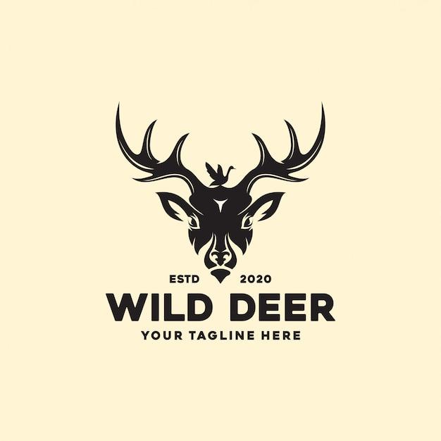 Rótulo de veado de natureza selvagem vintage e modelo de logotipo