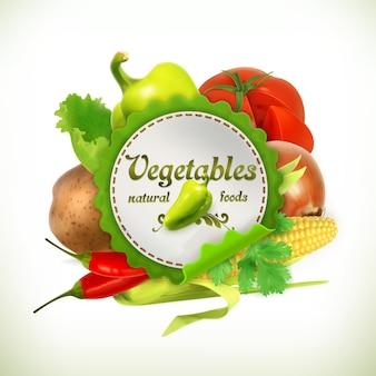 Rótulo de vegetais com vegetais