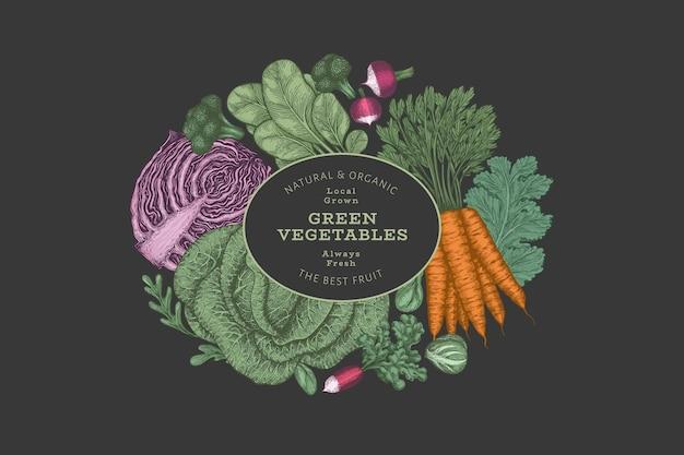 Rótulo de vegetais de cor vintage desenhada de mão.