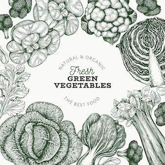 Rótulo de vegetais verdes frescos desenhado à mão
