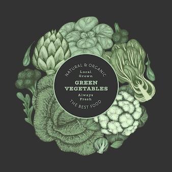 Rótulo de vegetais vintage desenhado à mão